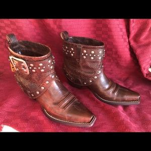 Ariat low cut brown leather cowboy boots.